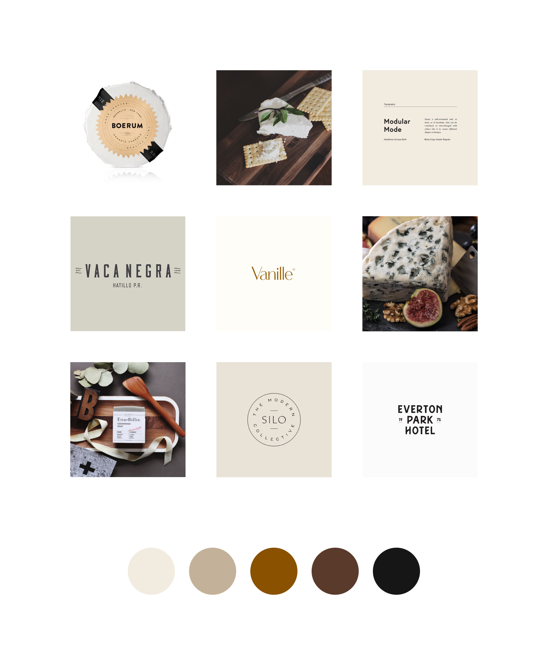 Moodboard for cheese brand. Visual direction. Cheese importers logo and web design. Cheese branding. Éternel Design Studio, timeless brand design with purpose and strategy.