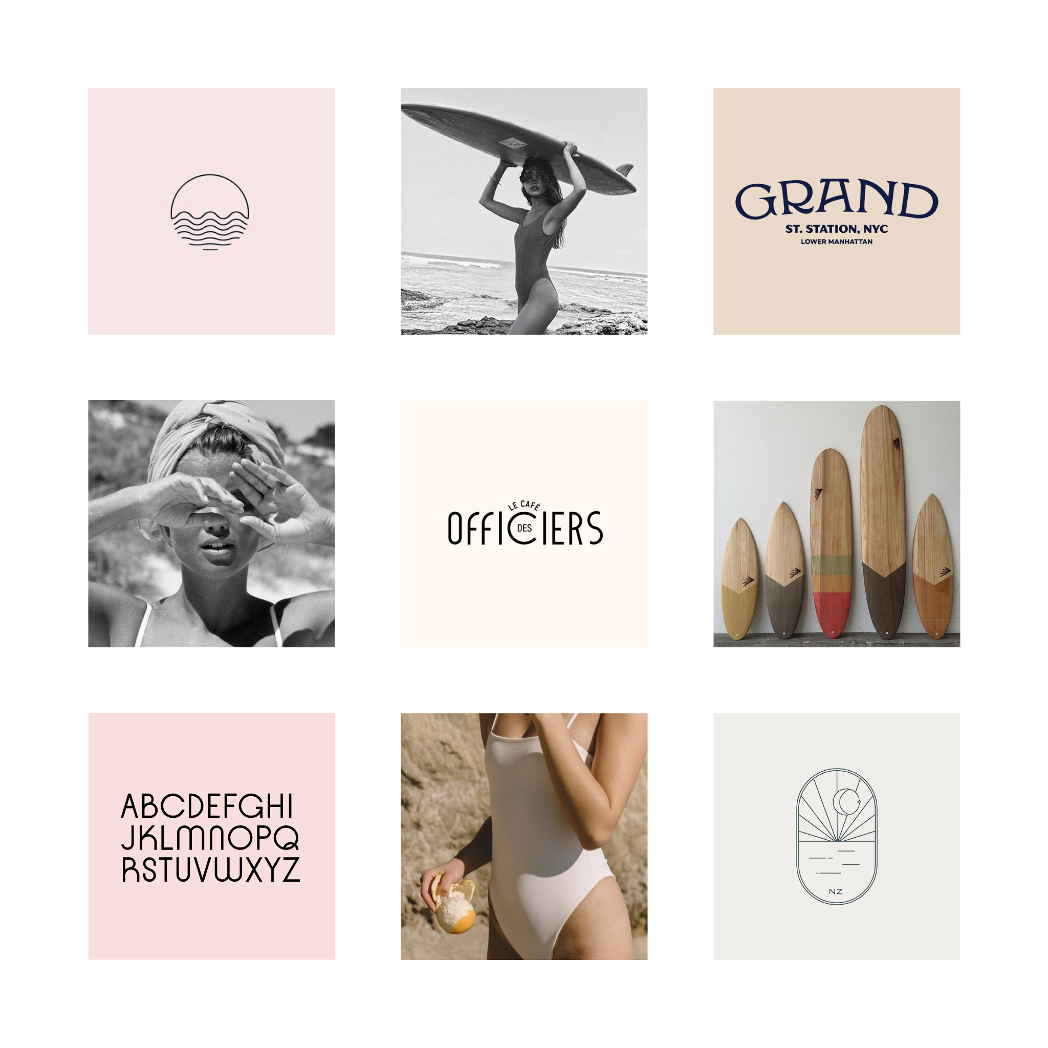 Moodboard for Capitaine swimwear, sustainable bikinis and surfwear brand. Branding and logo design by Éternel Design Studio