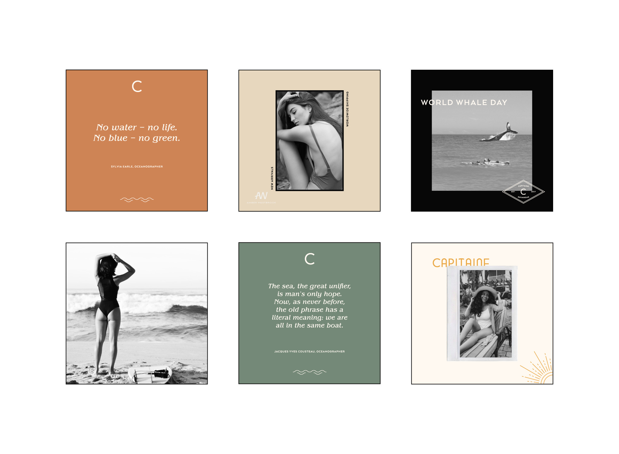 Social media design for sustainable swimwear brand. Instagram strategy and templates. Logo and branding for sustainable and ethical clothing - swimwear, beachwear and surfwear. Éternel Design Studio, timeless brand design with purpose and strategy.