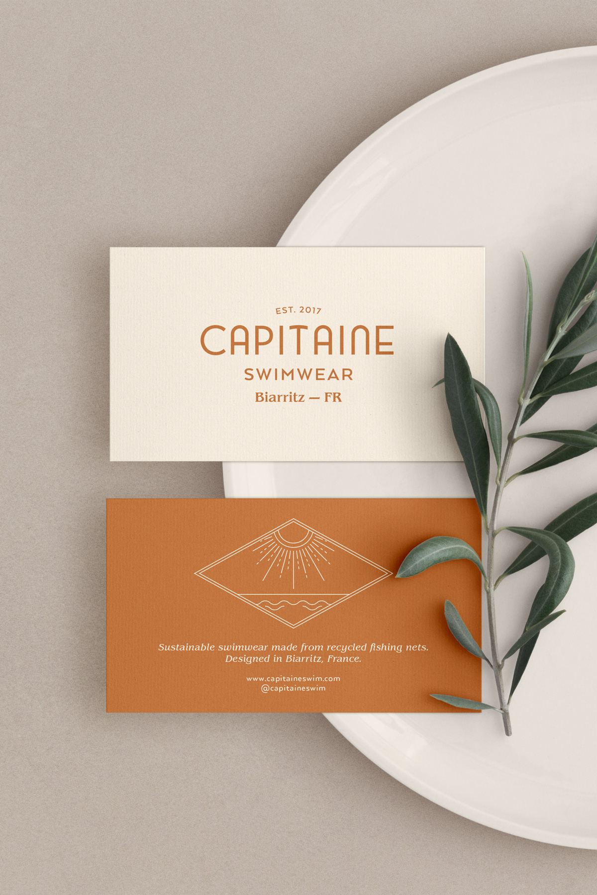 Business card design for sustainable swimwear brand. Logo and branding for sustainable and ethical clothing - swimwear, beachwear and surfwear. Éternel Design Studio, timeless brand design with purpose and strategy.