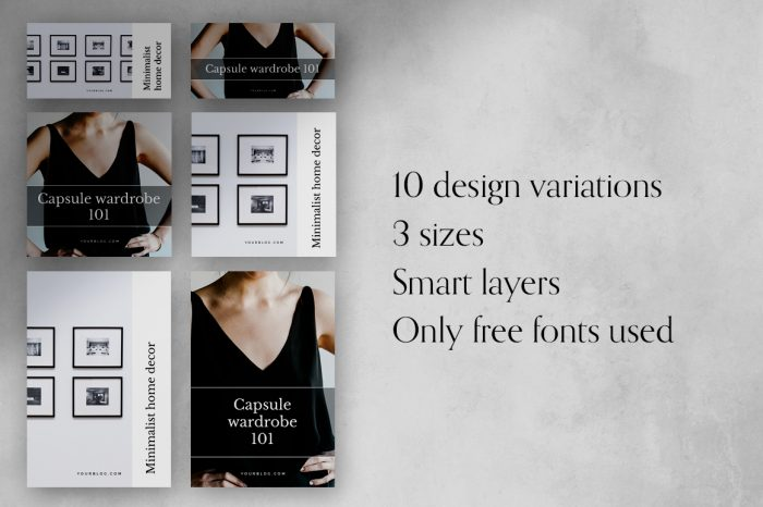 Minimal Social Media templates for Photoshop and Canva