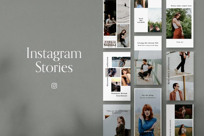 Minimalist Instagram stories for Photoshop and Canva