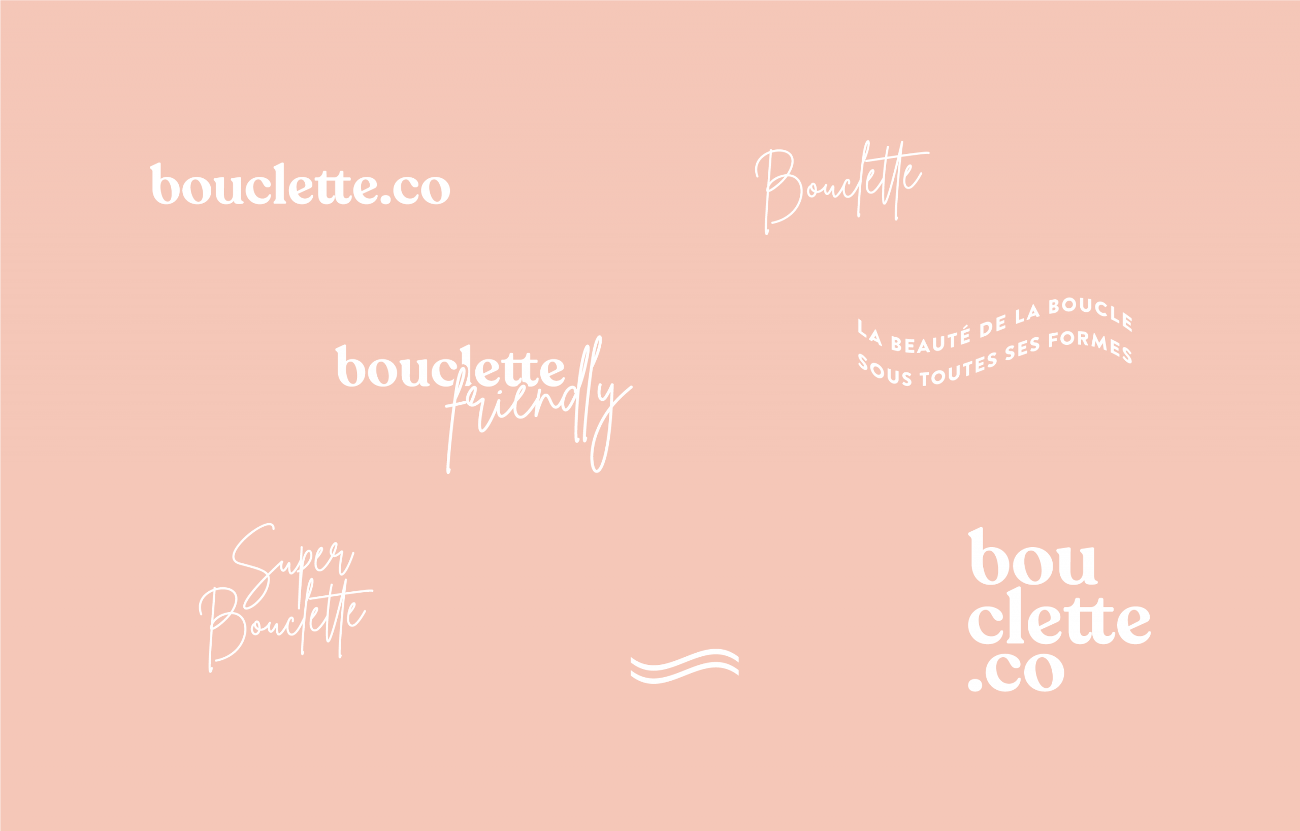Logos and submarks for Bouclette, haircare brand design by Éternel Design Studio