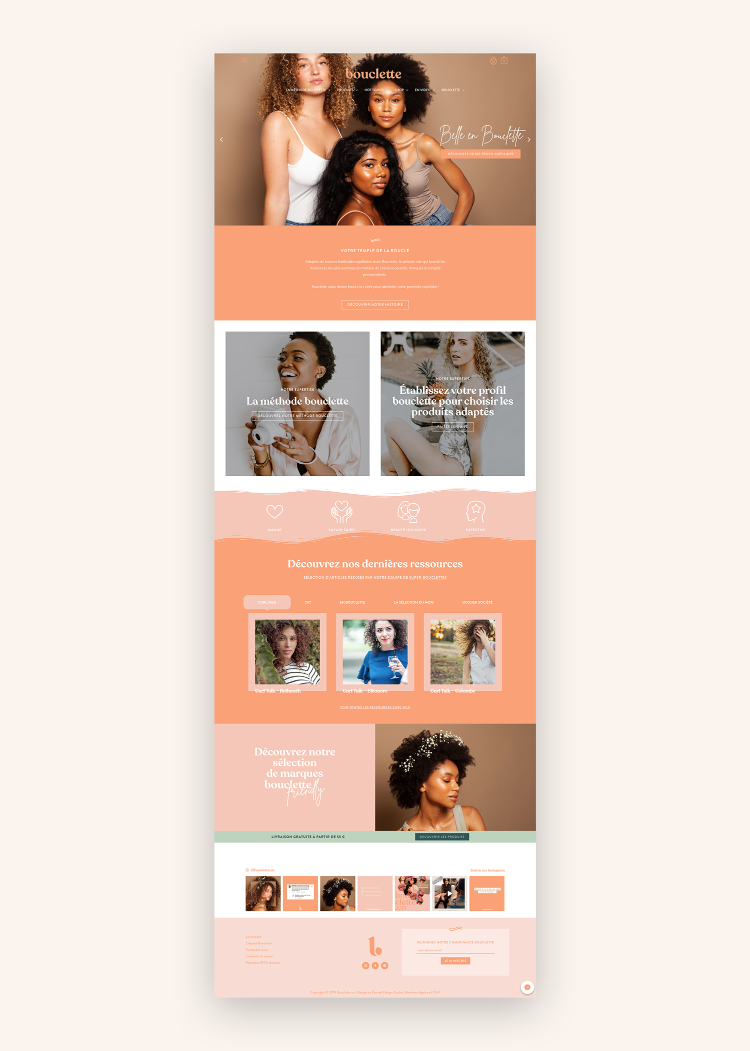 WordPress website design for haircare brand Bouclette by Éternel Design Studio