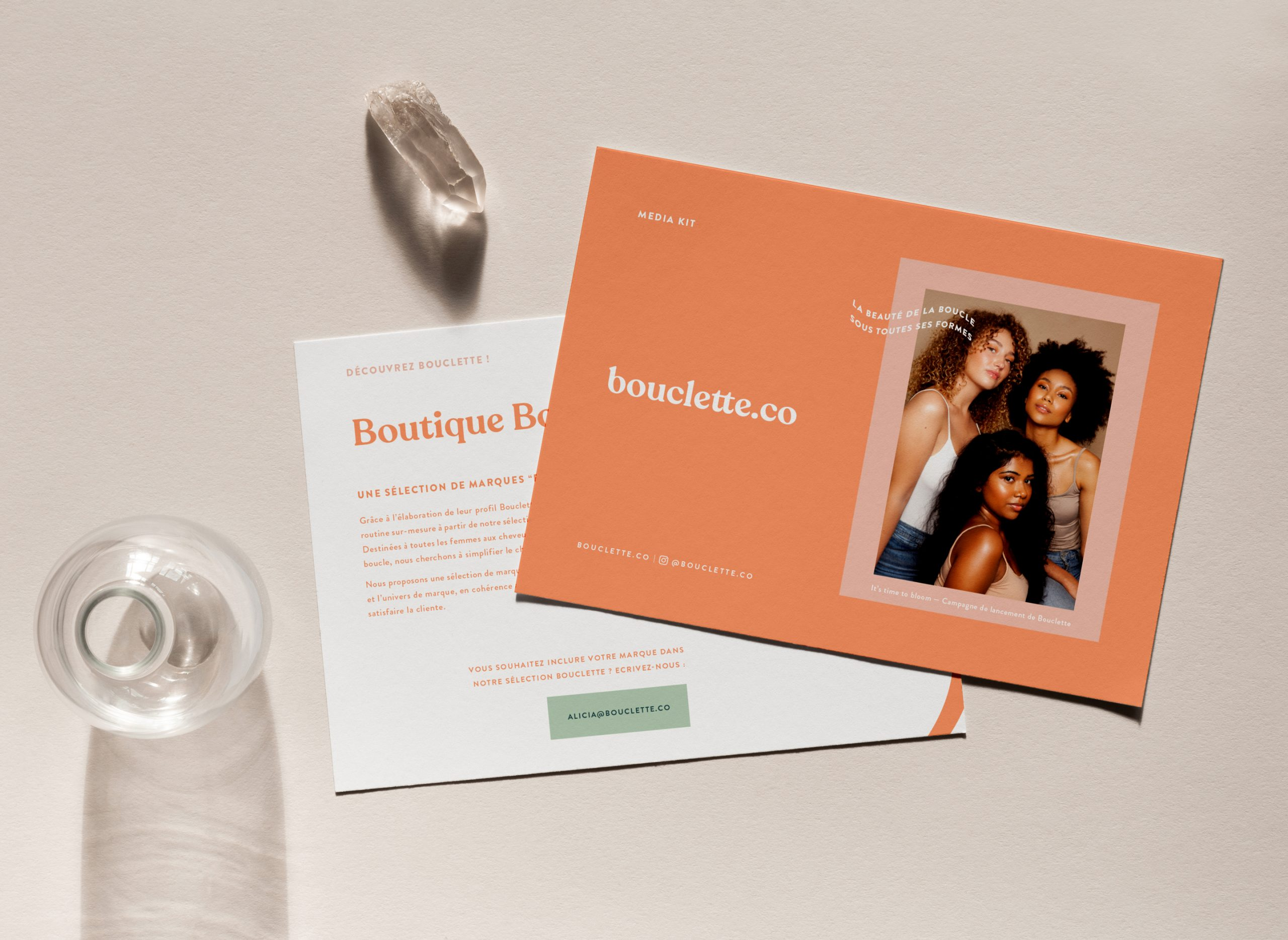 Media kit design for haircare brand Bouclette